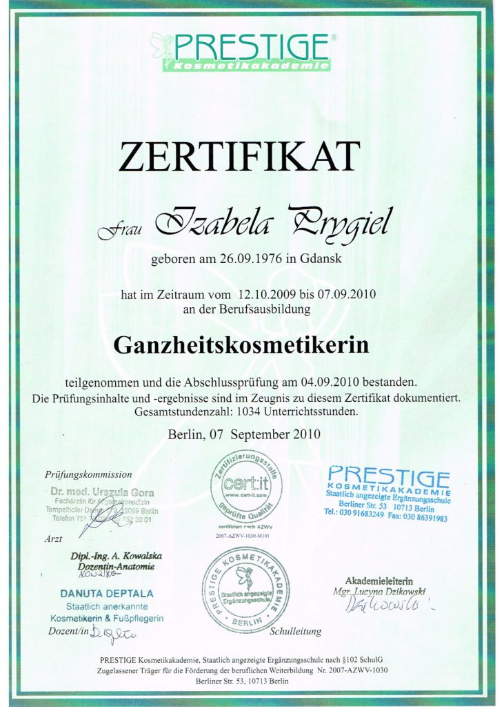 Zertifikat Ganzheits-kosmetik