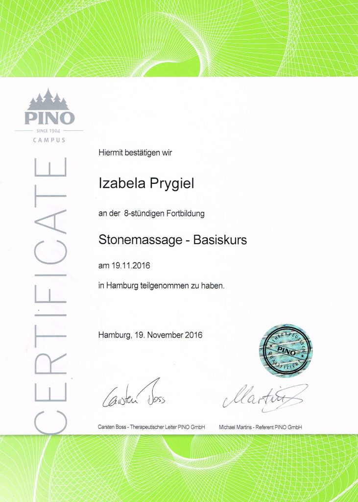 Diplom Stone Massage