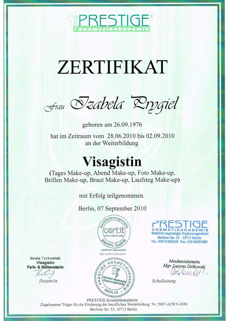 Zertifikat Visagistin